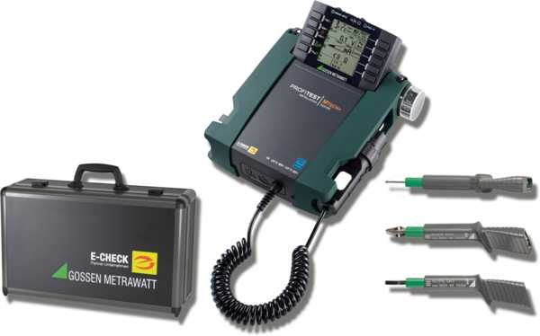 """E-CHECK Set+"" test instrument set for testing the effectiveness of protective measures at stationary electrical installations after completion, repair or expansion, and for periodic testing, especially for the fulfillment of DGUV regulation 3."