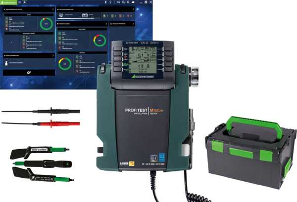 """TECH+ IQ starter package"" test instrument set for testing the effectiveness of protective measures at stationary electrical installations after completion, repair or expansion, and for periodic testing, especially for the fulfillment of DGUV regulation 3."