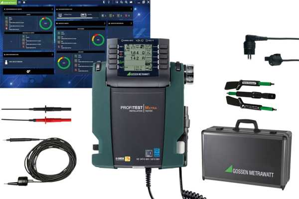 """XTRA IQ master package"" test instrument set for testing the effectiveness of protective measures at stationary electrical installations after completion, repair or expansion, and for periodic testing, especially for the fulfillment of DGUV regulation 3."