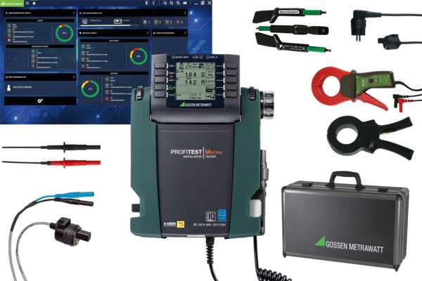 """Profi package XTRA IQ"" test instrument set for testing the effectiveness of protective measures at stationary electrical installations after completion, repair or expansion, and for periodic testing, especially for the fulfillment of DGUV regulation 3"