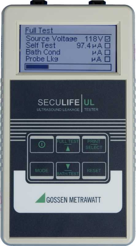 Test instrument for measuring leakage current at ultrasound systems