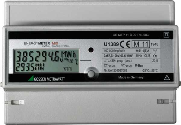 Active Energy Meter with MID Approval - 3-wire system, Transformer Connection 5/1 (6) A