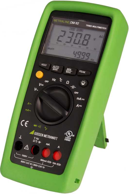 TRMS digital multimeter with analog bar graph and temperature measurement