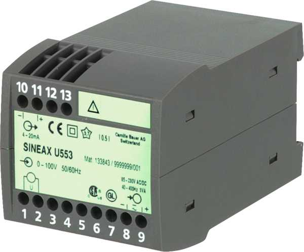 AC voltage transducer, RMS, with power supply